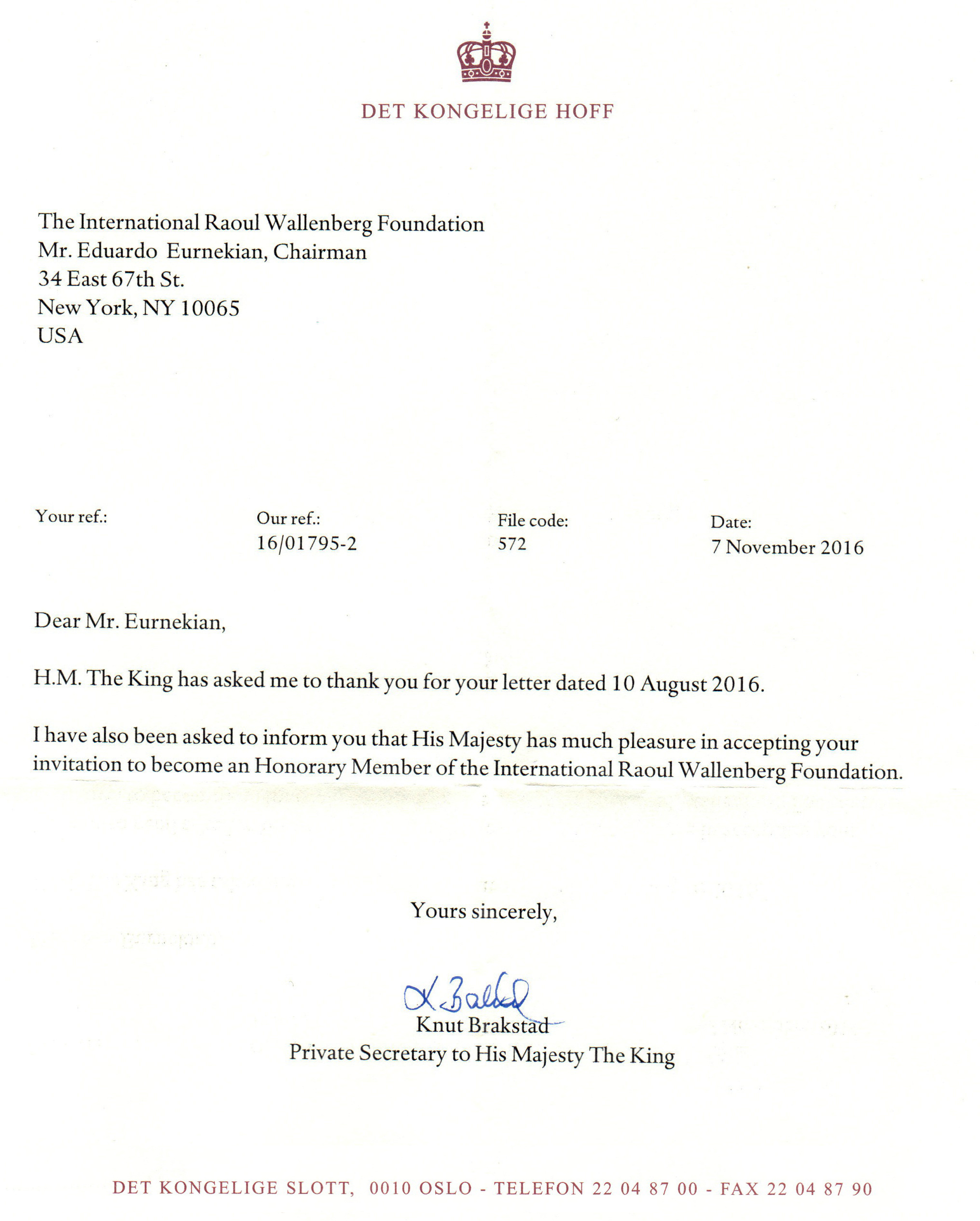 His majesty king harald of norway new honorary member of the through a letter addressed to eduardo eurnekian chairman of the raoul wallenberg foundation his majesty king harald of norway accepted to become an stopboris Images