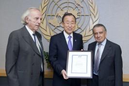 Baruj Tenembaum, Ban Ki-moon y Eduardo Eurnekian