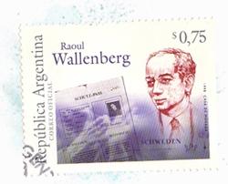 Sello Postal Raoul Wallenberg emitido por el Correo Argentino.